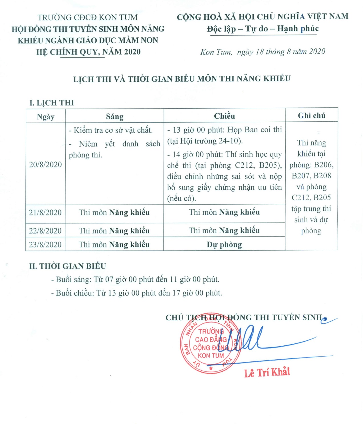TB LỊCH THI NANG KHIEU 2020